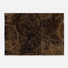Clockwork Collage Brown 5'x7'Area Rug