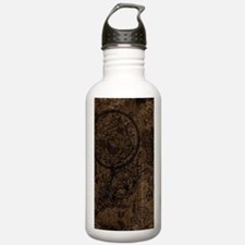 Clockwork Collage Brown Water Bottle