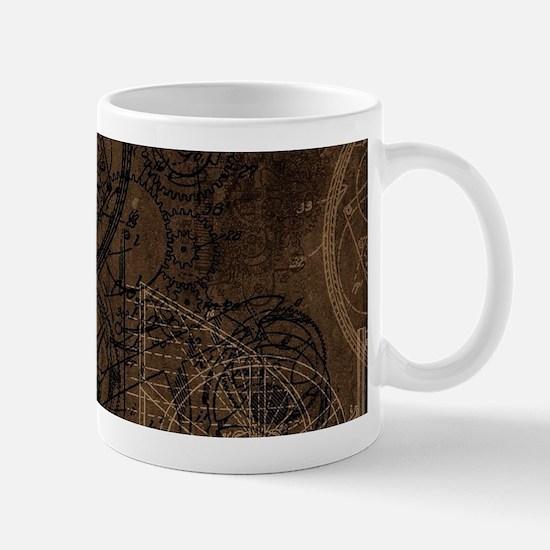 Clockwork Collage Brown Mugs