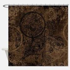 Clockwork Collage Brown Shower Curtain