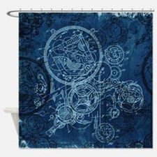 Clockwork Collage Blue Shower Curtain