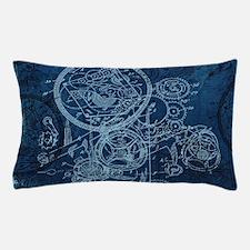 Clockwork Collage Blue Pillow Case
