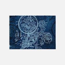 Clockwork Collage Blue 5'x7'Area Rug