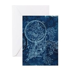 Clockwork Collage Blue Greeting Card