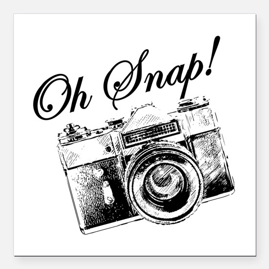"OH SNAP CAMERA Square Car Magnet 3"" x 3"""