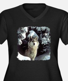 Winter Wolf Women's Plus Size V-Neck Dark T-Shirt
