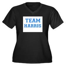 TEAM HARRIS Women's Plus Size V-Neck Dark T-Shirt