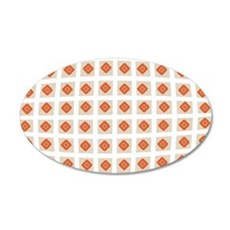 Holiday Party Orange Checked 20x12 Oval Wall Decal