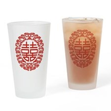 red double happiness  Drinking Glass