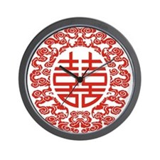 red double happiness Wall Clock