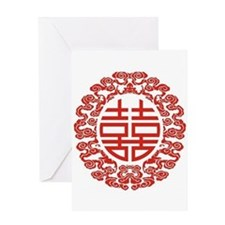 red double happiness Greeting Cards
