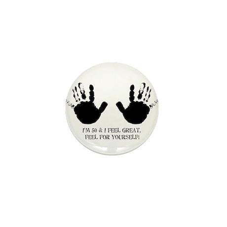 funny 50th birthday hands Mini Button