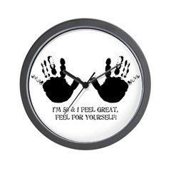 funny 50th birthday hands Wall Clock