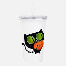 Cute Black Cat with pumpkin Acrylic Double-wall Tu