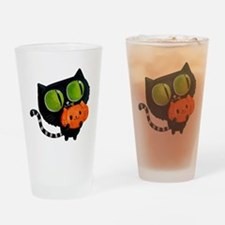 Cute Black Cat with pumpkin Drinking Glass