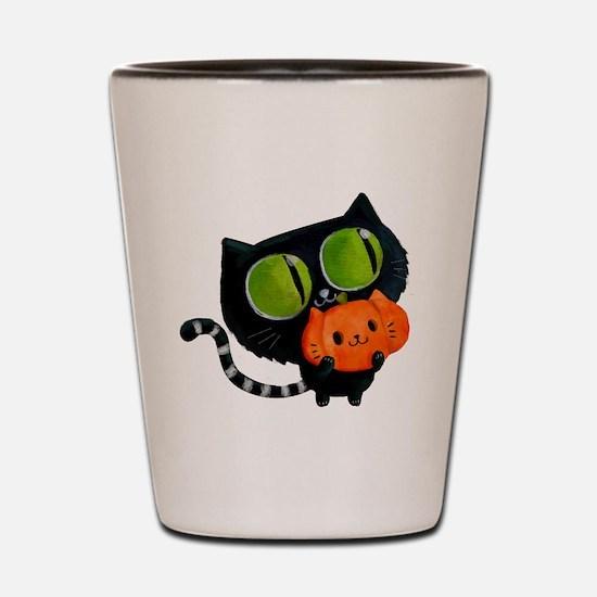 Cute Black Cat with pumpkin Shot Glass