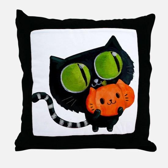 Cute Black Cat with pumpkin Throw Pillow