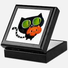 Cute Black Cat with pumpkin Keepsake Box