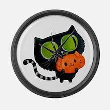 Cute Black Cat with pumpkin Large Wall Clock