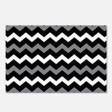 Black Gray And White Chevron Postcards (Package of