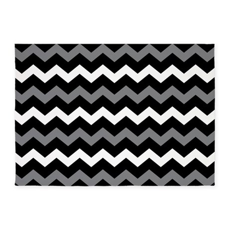Black Gray And White Chevron 5 39 X7 39 Area Rug By BeautifulBed