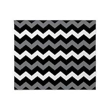 Black Gray And White Chevron Throw Blanket