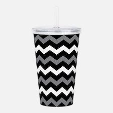 Black Gray And White Chevron Acrylic Double-wall T