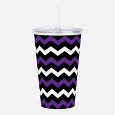 Black Purple And White Chevron Acrylic Double-wall