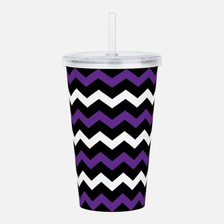 Black Purple And White Chevron Acrylic Double-wall