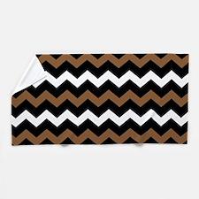 Black Brown And White Chevron Beach Towel