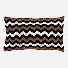 Black Brown And White Chevron Pillow Case