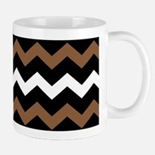 Black Brown And White Chevron Mugs