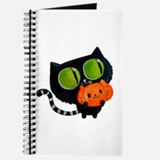 Cute Black Cat with pumpkin Journal