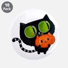 "Cute Black Cat with pumpkin 3.5"" Button (10 pack)"