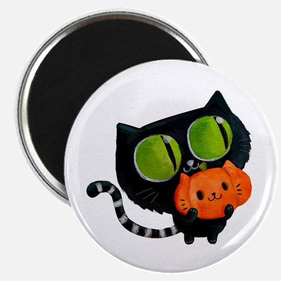Cute Black Cat with pumpkin Magnets