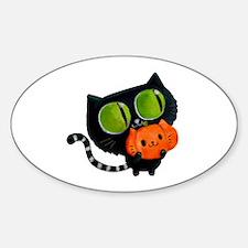 Cute Black Cat with pumpkin Decal