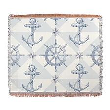 Anchor Nautical Sailing Woven Blanket