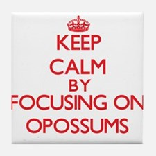 Keep Calm by focusing on Opossums Tile Coaster