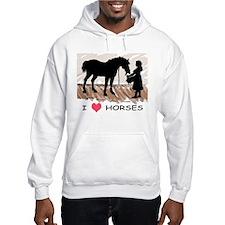 I Love Horses & Girl w/ Color Hoodie