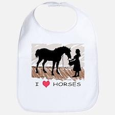 I Love Horses & Girl w/ Color Bib