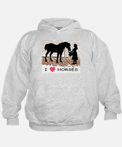 I Love Horses & Girl w/ Color Hoodie