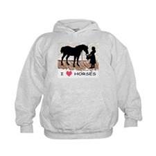 I Love Horses & Girl w/ Color Hoody