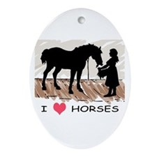 I Love Horses & Girl w/ Color Oval Ornament