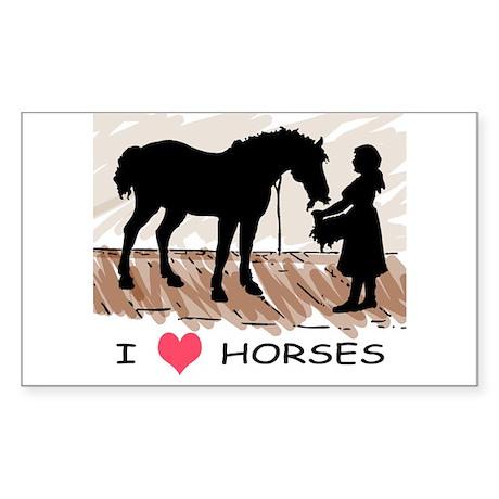 I Love Horses & Girl w/ Color Sticker (Rectangular