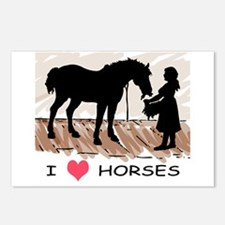 I Love Horses & Girl w/ Color Postcards (Package o