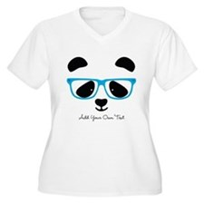 Cute Panda Blue Plus Size T-Shirt
