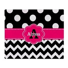 Black Pink Dots Chevron Personalized Throw Blanket