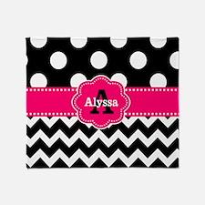 Black Pink Dots Chevron Personalized Throw Blanket