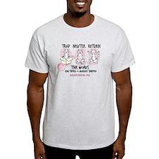 Wish TNR 3 Cats - Black Text T-Shirt