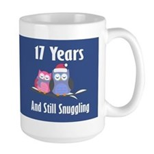 Cute 17th Anniversary Snuggly Owls Mugs